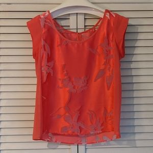 AEO Pink Floral Cutout Blouse